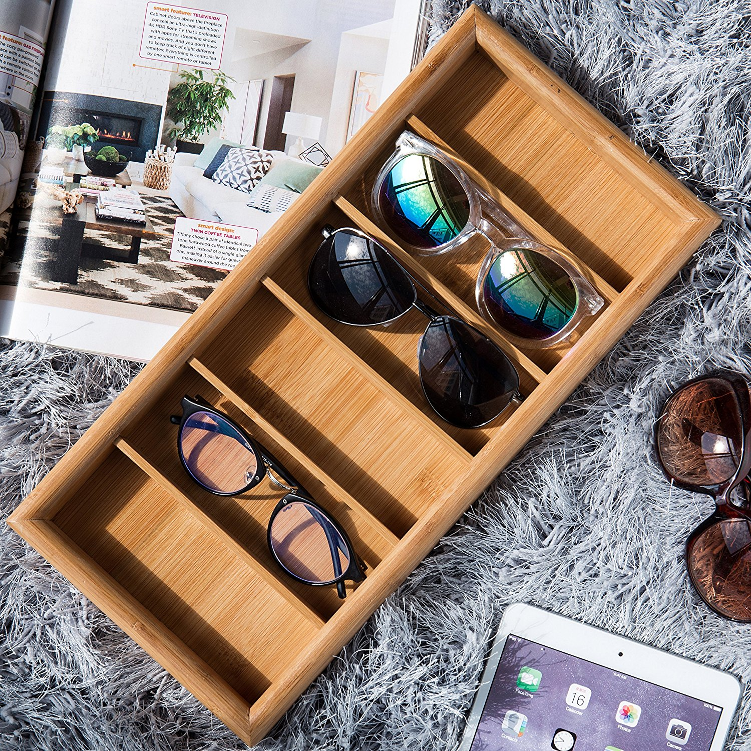Fashionable Modern Bamboo Eyewear Display Tray