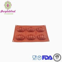 Halloween 6 cavity mini pumpkin silicone baking pan/silicone cake mould