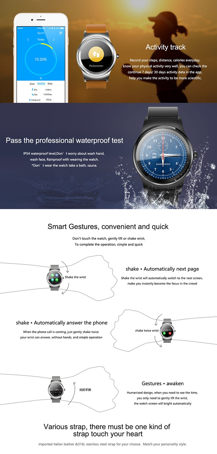 SMA mobile watch phones smart watch compatible with ios& Android wear watch smart phone