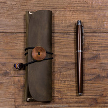 Roll-up Real Leather Pencil Tool Roll Case