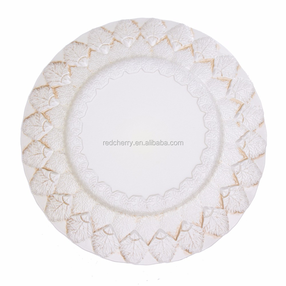 China cheap wedding plate, gold & white wedding charger plate, big size dinner charger plate