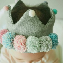 Unisex Baby Imperial Crown Cap Knitted Birthday Photography Hat