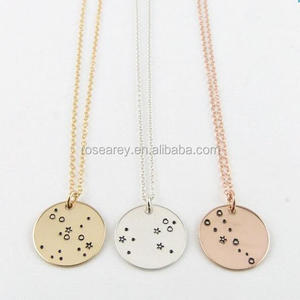 Hot Selling Stainless Steel Gold Disc Round Tag 12 Zodiac Signs Necklace Astrology jewelry