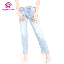 Modern design plain new style indian 100%Cotton rips skinny jeans
