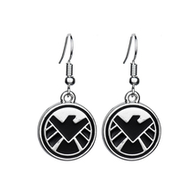 Wholesale Hot Movie S.H.I.E.L.<strong>D</strong>. Shield Enamel Black Earrings Plate Silver Jewelry For Women Wedding