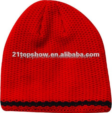Double layer acrylic red colour winter knitted hat