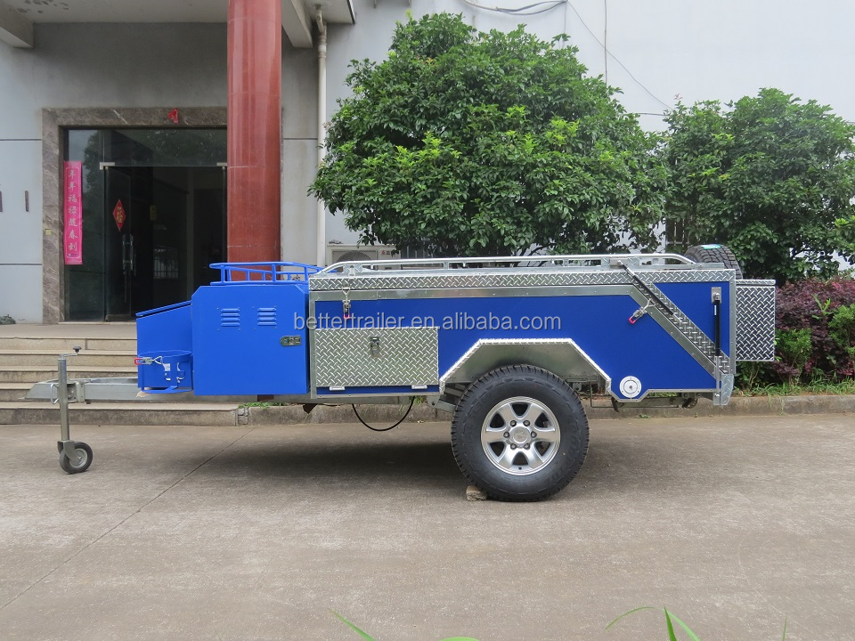blue color ,brand new design hard floor rear folding camper trailer