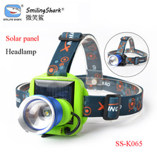 Smiling Shark wholesales rechargeable headlight Q5/T6 led high power solar panel headlamp