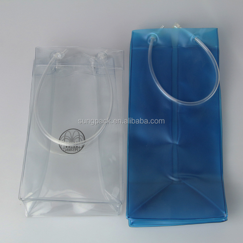 Vinyl PVC Wine Bag in Plastic Tube Handle Carrier Champagne Beer Bottle Case Pouch