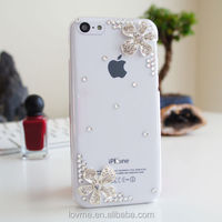 3D Flower Luxury Bling Diamond Jewelled Crystal Case Cover For iPhone 5c