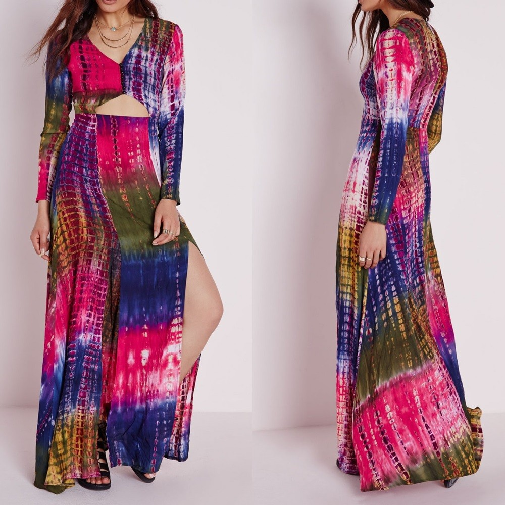 Custom Design Ladies Tie Dye Multicolor V-neck Long Sleeves Slit Maxi Dress
