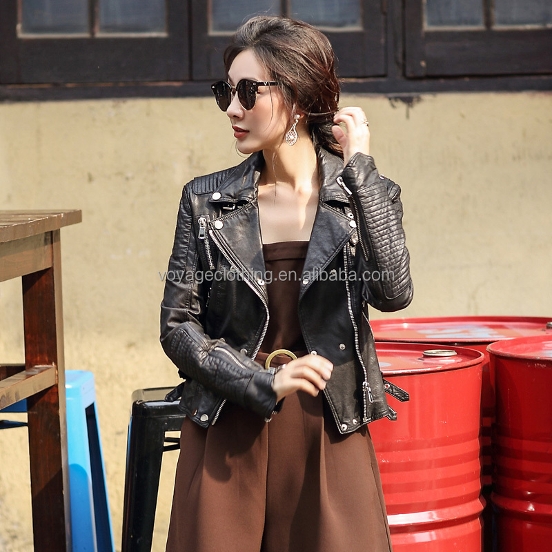 2016 Latest Fashion Leather Jacket Spring Autumn Women Jacket Lady Motorcycle biker Jacket