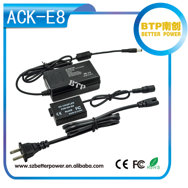 Wholesale digital camera accessoires DR-E8 ACK-E8 power supply AC power Adapter and dc coupler Kit for EOS 650D/EOS 600D/EOS550D
