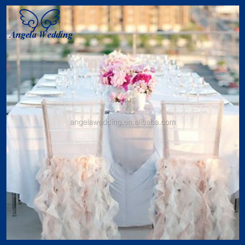 CH095A Cheap Wholesale Fancy Half Pink Satin Chair Cover For Weddings