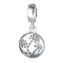 925 Sterling Silver High Quality Round Shaped Pendant Charms Fit Women DIY Beads Bracelets Fine Jewelry PDMB0428