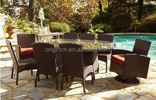 8 person villa home party dining modern design new center table with oval design furniture for poolside swivel chair