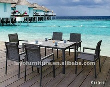 7pcs Alum Frame Dining Table Sets With Spraystone on Table Top outdoor dining table sets