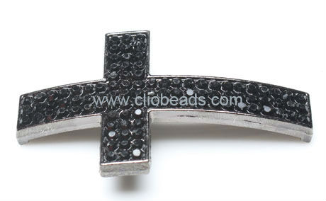 Gunmetal Plated Jewelry Making Sideways Cross
