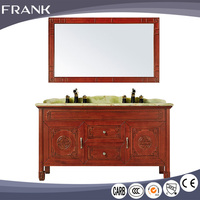 Frank chinese supplier design new models pvc units solid plywood bathroom furniture cabinet with marble counter top