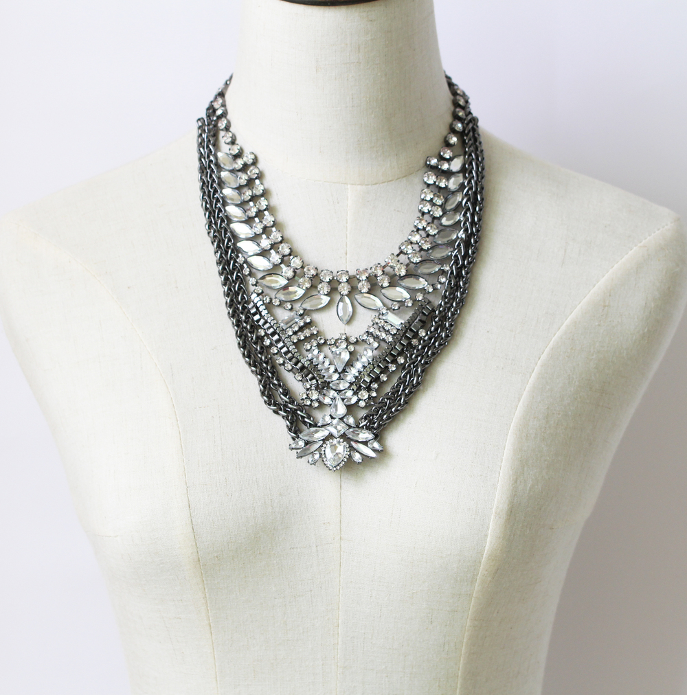 2015 new design large costume necklace jewelry, women costume jewelry