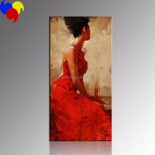 Elegant Women Painting Art/Red Dress Women Wall Decoration/Wholesale Living Room Paintings