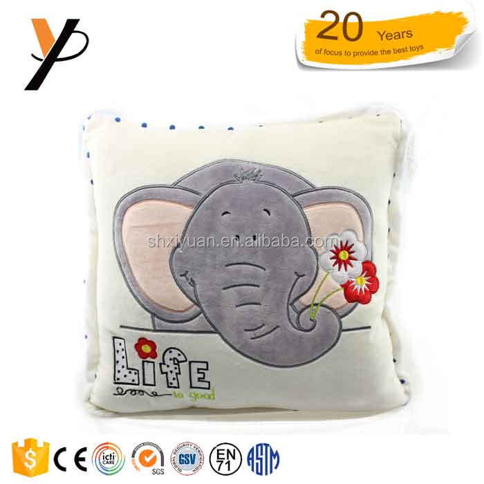 Hot sale grey color plush baby soft support elephant pillow