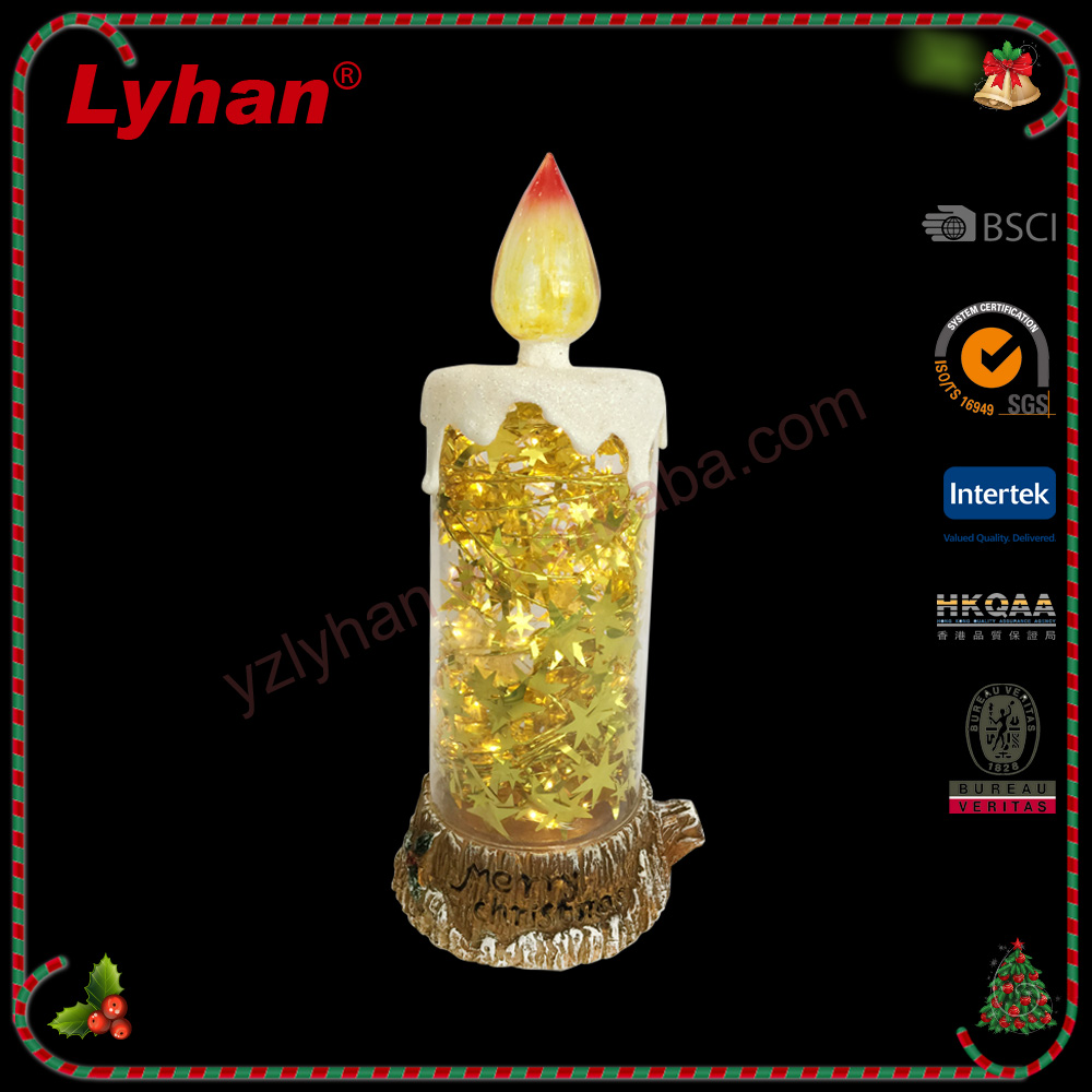 Lyhan LED candle/rein simulation wood/golden star/ fair price christmas decoration