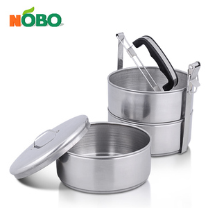 3 Tier Stainless Steel Tripple Stacking Tiffin Carrier Metal Thermal Insulated Tiffin Lunch Box