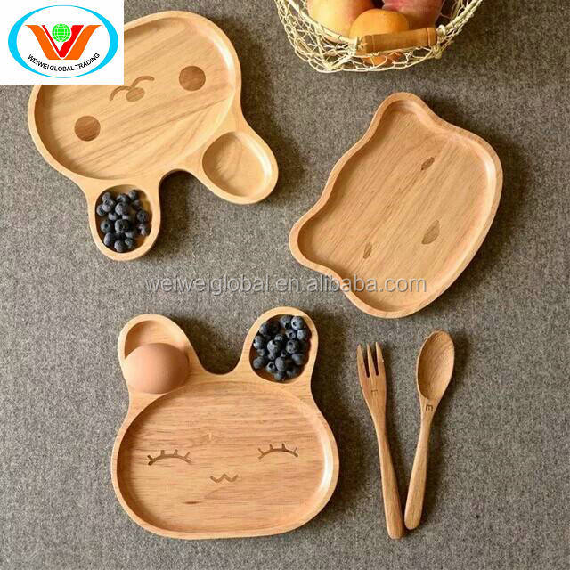 rubber oak bamboo acacia wooden round sharp baby children using original ecology FSC FDA LFGB breakfast seving set tray