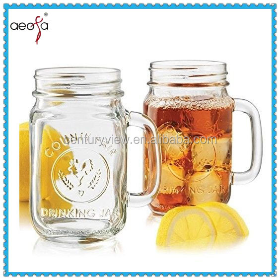 480ml Libbey Country Fair embossed mason jar drinking glass with handle