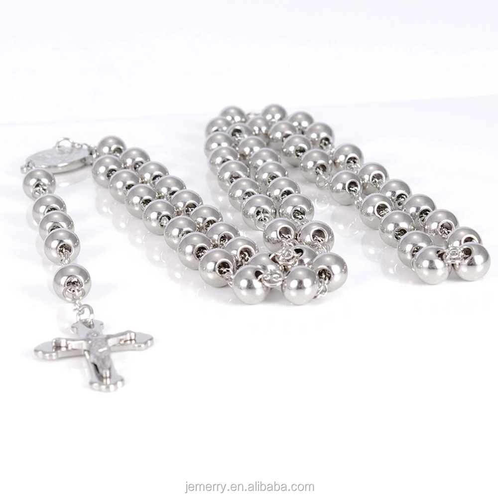 High Quality Vacuum Plating Stainless Steel Beads Crucifix Cross Prayer Rosary For Necklace