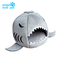 Angellovepet Cute Color Shark Round House Puppy Bed with Pet Bed Mat Small to Medium