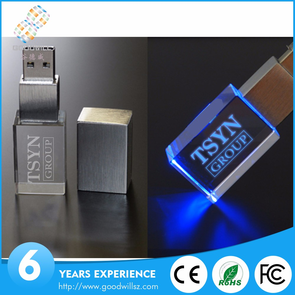 Top selling cheapest usb 2.0 crystal rectangle usb flash drives with custom logo