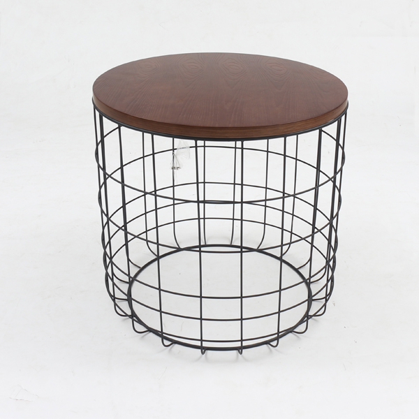 Wired Grid Design Base In Drum Style Round Cylindrical Side Table