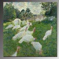 Pure Handmade White Turkeys By Famous Artist Claude Monet Oil Painting