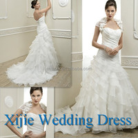 Sweetheart Popular Off White Wedding Dress Organza Ruffle With Jacket --- HK-063