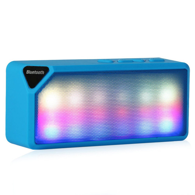 X3S Mini Multi-Color Flash LED Light Wireless Bluetooth Speaker with Built-in Microphone Support USB AUX FM Radio TF Card