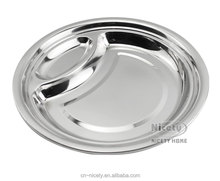 round European style metal stainless dinner plate for weddings/restaurant