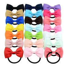 ZNFQ04 Cute Baby Girl Solid Ribbon bows With Elastic Band Sweet Hair Tie Rope for Woman Kids bows Hair rope Hair Accessories