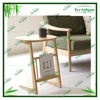 2015 fashion bamboo /wood cafee table with book shelf