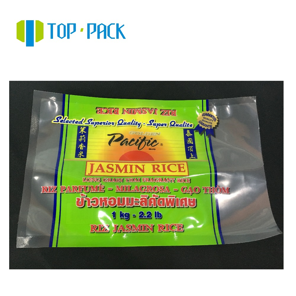 1kg 2kg 5kg custom printed food vacuum plastic nylon packaging bag for rice packing
