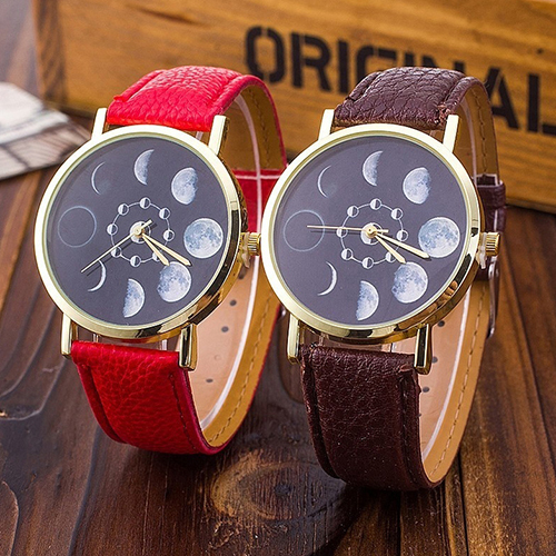 2016 New Unisex Moon Phase Astronomy Space Watch Faux Leather Band Quartz Wrist Watch 5TH A7KC