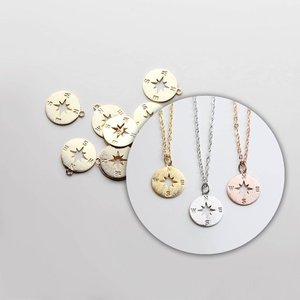 Inspire jewelry simple gold pendant design Brushed Gold Compass Disc Pendant for necklace accessories women jewelry
