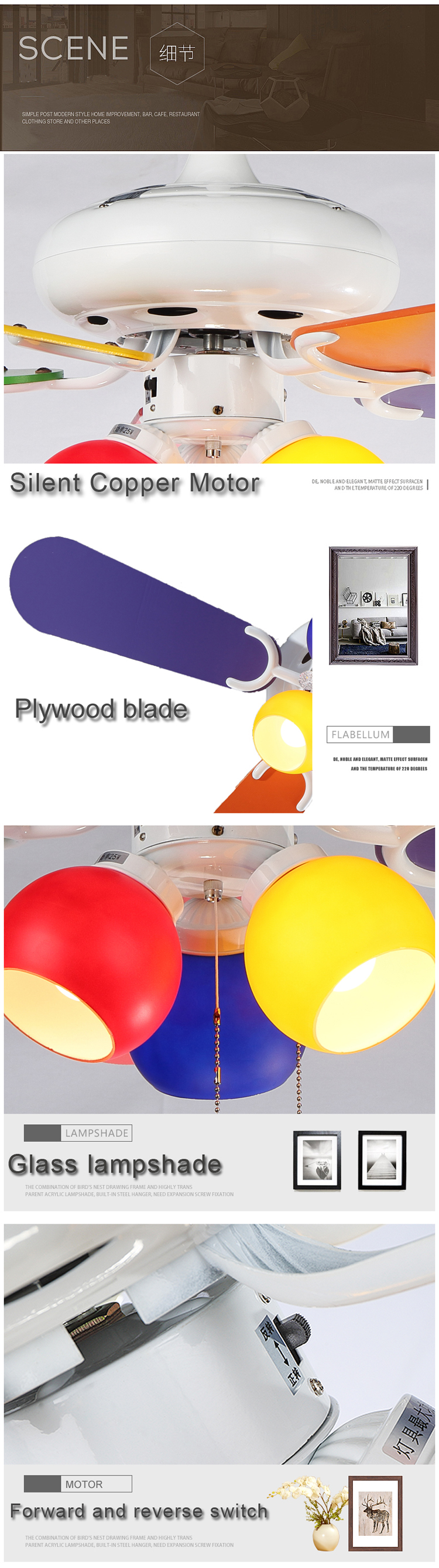 42 Inches Decorative 5 Reversible Blades Glass Light Kit Ceiling Fan With Light