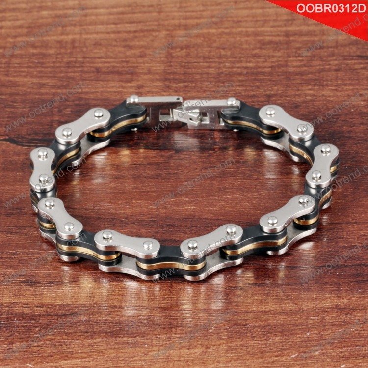 Biker design boy bracelet made by stainless steel 316L with plating