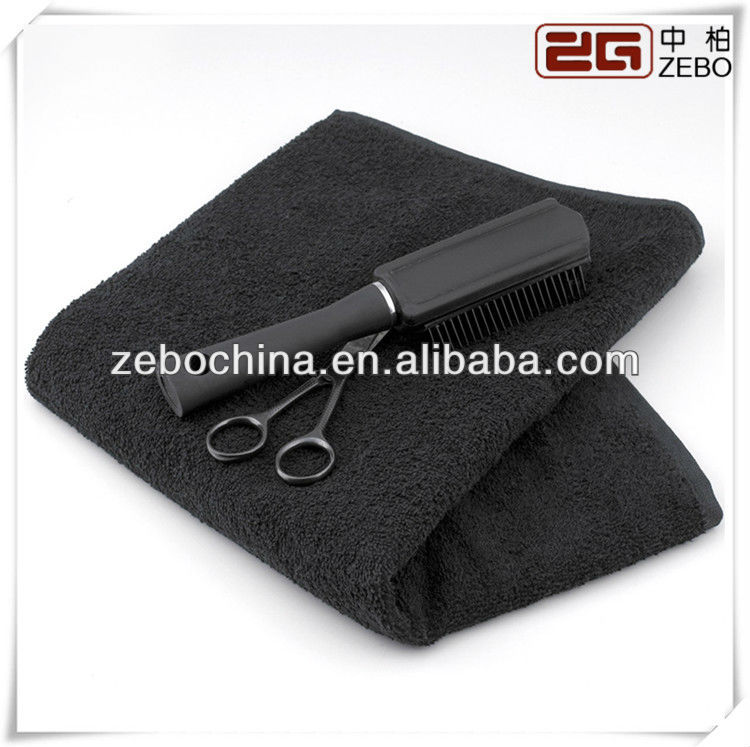 New arrival luxury 100% terry cotton dobby wholesale black salon towel