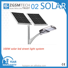 100W solar led street lights 3 years warranty with Daylight Sensor and photocell
