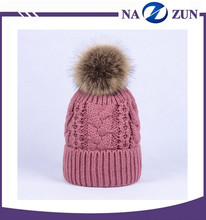 Factory Custom Knit unique slouchy Winter Hat Fashion style fuchsia color wool knit hats with big fur ball top