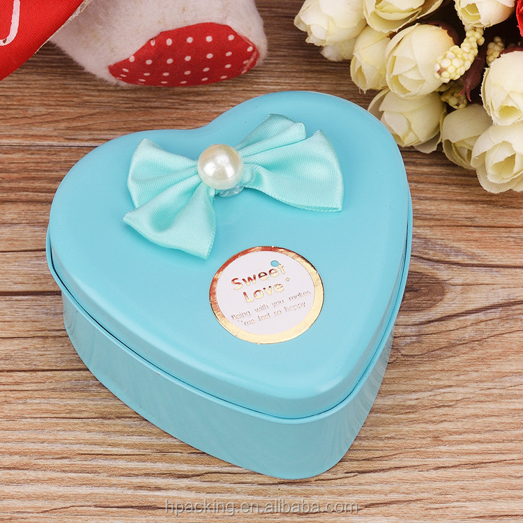 Blue Heart Shaped Tin Wedding Candy Box