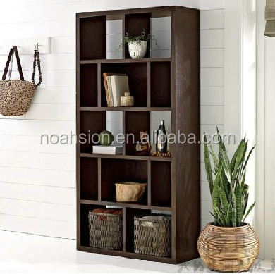 dark walnut color space saving 5 tier wood shelf bookcase